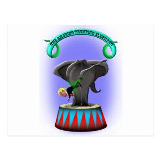 the amazing trumping elephant postcard