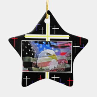 The American Bald Eagle, The Flag and The Cross. Ceramic Star Decoration