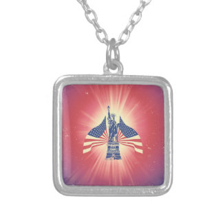 The American flag and statue of liberty Square Pendant Necklace
