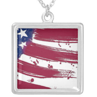 THE American Flag Square Pendant Necklace