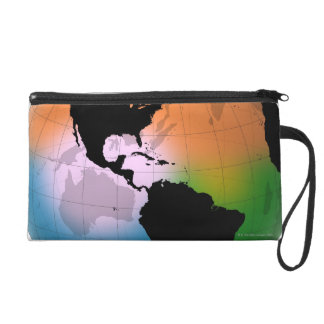 The Americas Ocean Current Map Wristlet Clutch