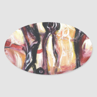 The Ancient Astronauts abstract expressionism Oval Stickers