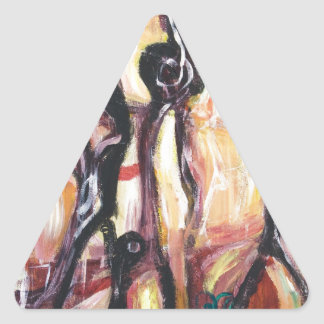 The Ancient Astronauts(abstract expressionism) Triangle Sticker