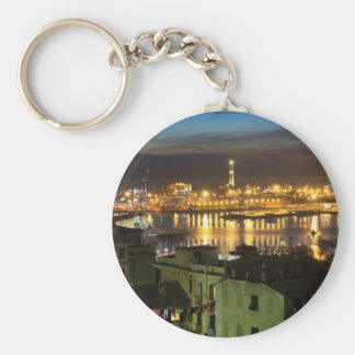 The ancient port in Genova, Italy Basic Round Button Key Ring
