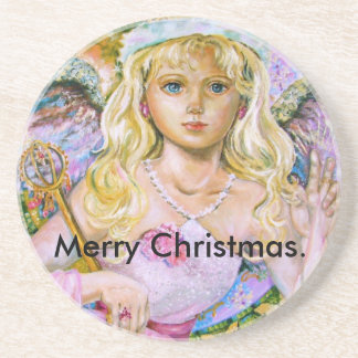 The angel of the pink sapphire., Merry Christmas. Drink Coasters