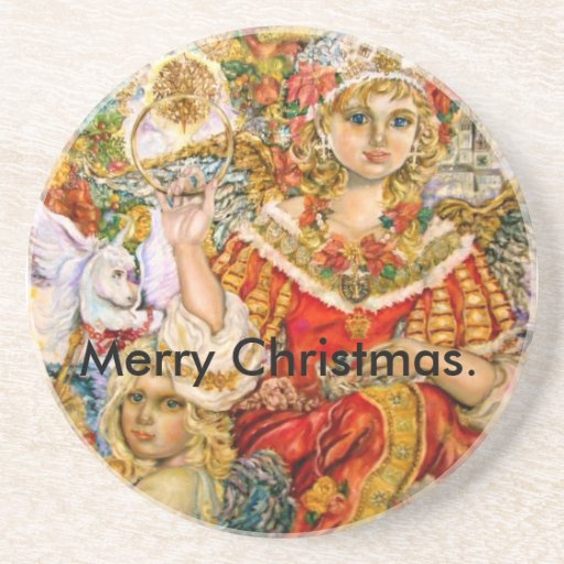 The angel of the poinsettia., Merry Christmas. Coaster