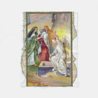 The Angel tells the women that Christ has risen Fleece Blanket