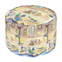 The Animals Night Out Round Pouf
