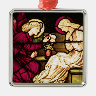 The Annunciation by Edward Burne-Jones Silver-Colored Square Decoration