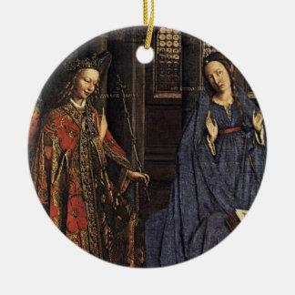 The Annunciation by Jan van Eyck Round Ceramic Decoration