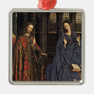 The Annunciation by Jan van Eyck Silver-Colored Square Decoration