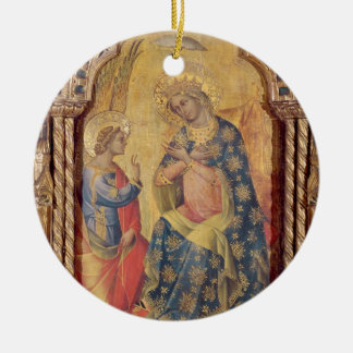 The Annunciation (part of polyptych) (oil on panel Round Ceramic Decoration