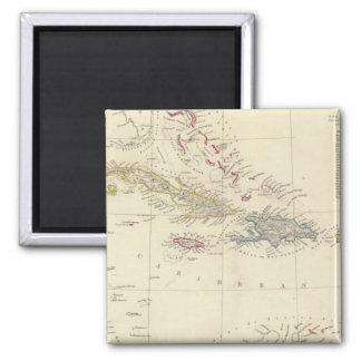 The Antilles or WestIndia Islands Square Magnet