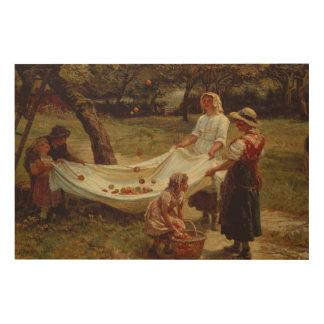 The Apple Gatherers, 1880 Wood Print