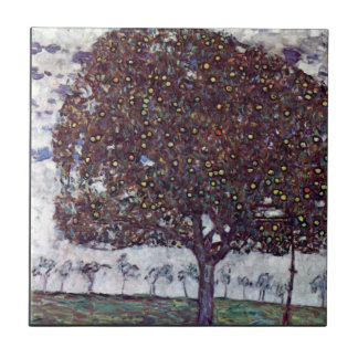 The Apple Tree by Gustav Klimt Small Square Tile