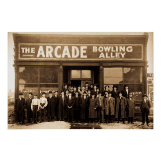 The Arcade Bowling Alley Vintage Print