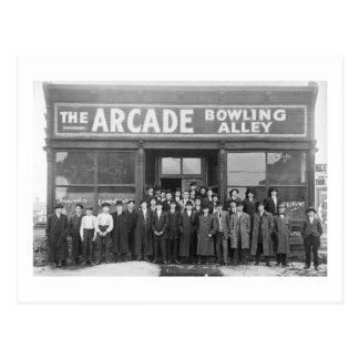 The Arcade Bowling Alley Vintage Saloon Postcard
