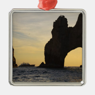 The Arch (El Arco) at Dusk with a Tour Boat in Metal Ornament