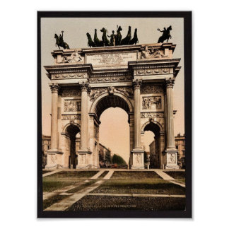 The Arch of Peace, Milan, Italy vintage Photochrom Poster