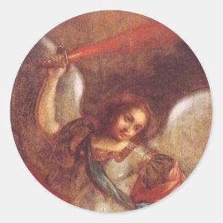 The Archangel St. Mikhail by Vladimir Borovikovsky Classic Round Sticker