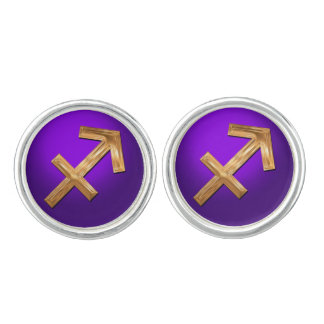 The Archer's Zodiac Sign Golden Glyph Cuff Links