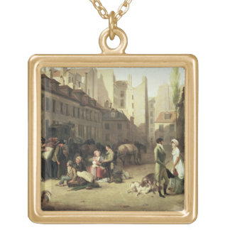 The Arrival of a Stage Coach at the Terminus, deta Gold Plated Necklace