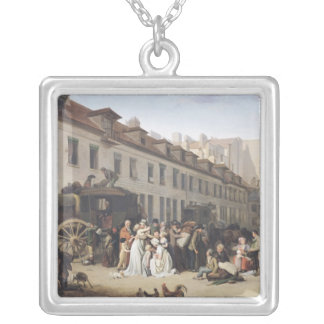 The Arrival of a Stagecoach at the Terminus Silver Plated Necklace