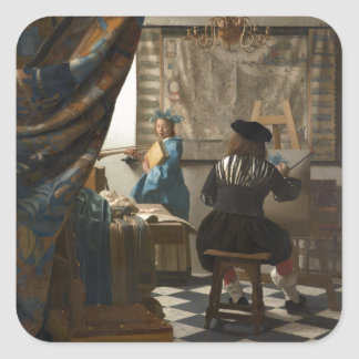 The Art of Painting by Johannes Vermeer Square Sticker