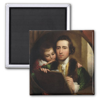 The Artist and his son Raphael, c.1773 (oil on can Square Magnet