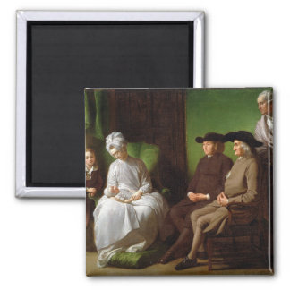 The Artist's Family (oil on canvas) Square Magnet
