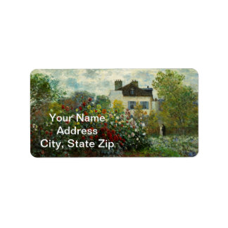 The Artist's Garden in Argenteuil 1873 (Monet) Address Label