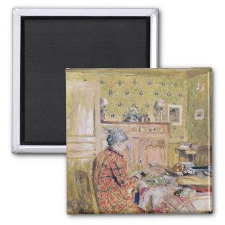 The Artist's Mother Taking Breakfast, 1899-1904 Square Magnet