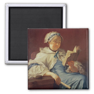The artist's wife, 1758 (oil on canvas) square magnet
