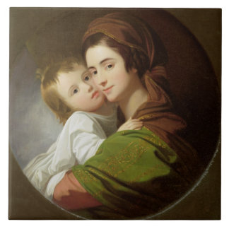 The Artist's Wife, Elizabeth, and their son Raphae Large Square Tile
