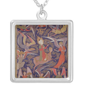 The Ascension of the Prophet Mohammed, Persian Silver Plated Necklace