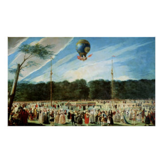 The Ascent of the Montgolfier Balloon at Poster
