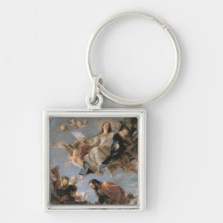 The Assumption of the Virgin, 1673 (oil on canvas) Silver-Colored Square Key Ring