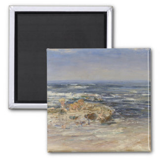 The Atlantic Surf, 1899 (oil on canvas) Square Magnet