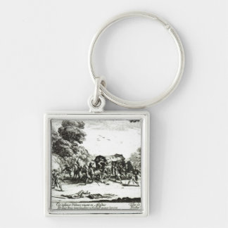 The Attack on the Stagecoach Silver-Colored Square Key Ring