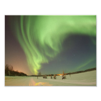 The Aurora Borealis, or Northern Lights, shines ab Poster