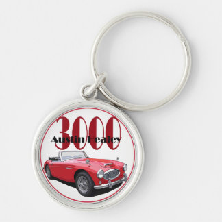 The Austin Healey 3000 Silver-Colored Round Key Ring