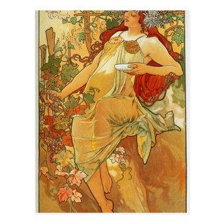 The Autumn by Alphonse Mucha Postcard
