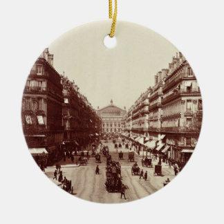 The Avenue de l'Opera, Paris  (sepia photo) Round Ceramic Decoration