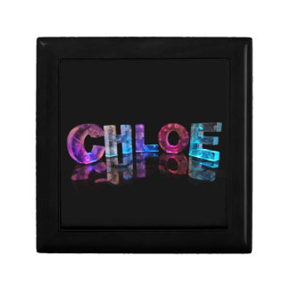 The  Awesome Name Chloe in 3D Lights Small Square Gift Box