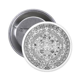 The Aztec Sun Calendar Circular Stone Design Pinback Buttons