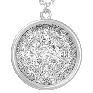 The Aztec Sun Calendar Circular Stone Design Silver Plated Necklace