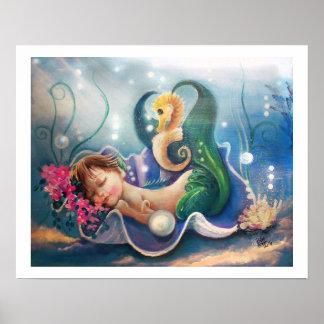 """the Babysitter"".. Sleeping Baby Mermaid Poster"
