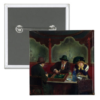 The Backgammon Players 15 Cm Square Badge
