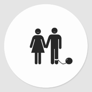 """The """"Ball and Chained"""" groom Classic Round Sticker"""