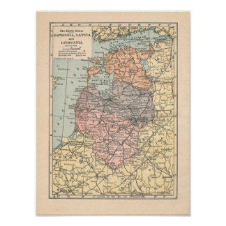 The Baltic States Vintage 1923 Map Print